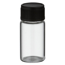 3ml mini bottle with black lid, clear glass